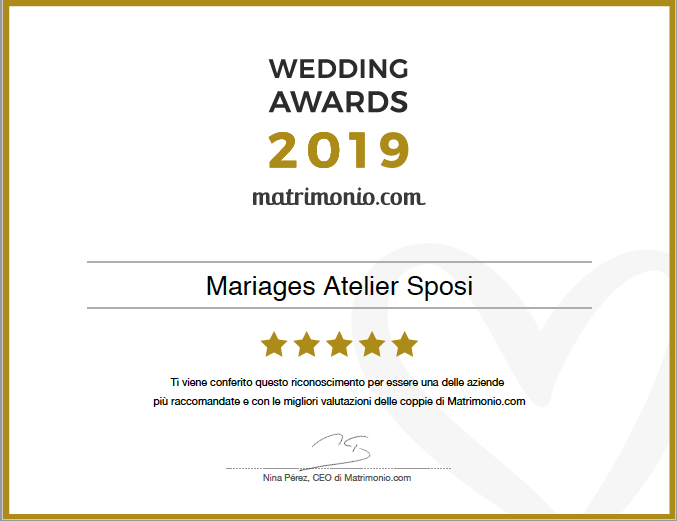 wedding awards 2019 Mariages Atelier Sposi Vicenza